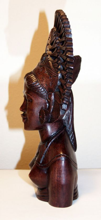 BALI HAND CARVED WOOD STATUE WOMAN FEMALE BUST TEAK INDONESIA CARVING