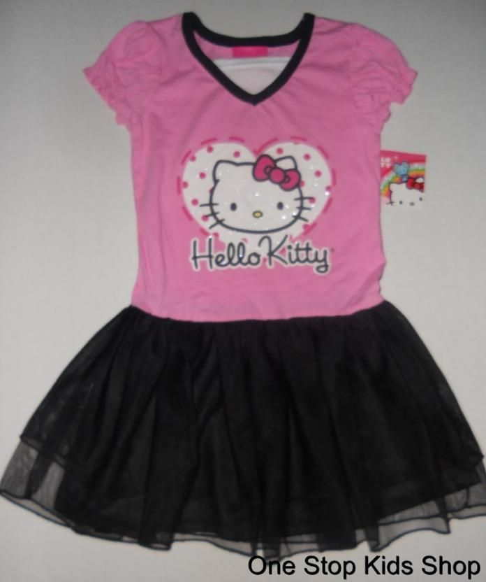 HELLO KITTY Girls 5 6 6X Outfit Set DRESS Skirt TUTU Shirt