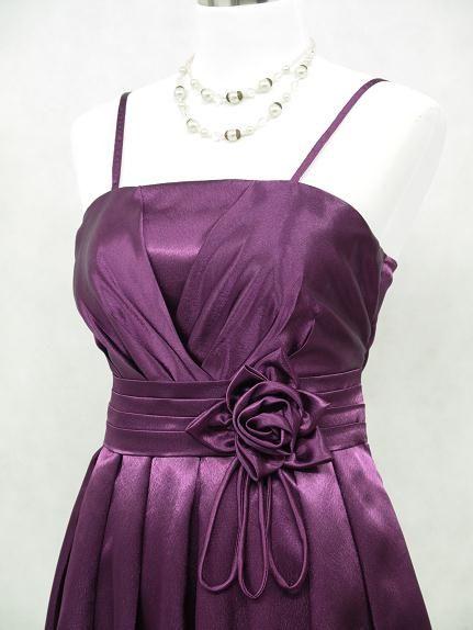 Satin Dark Purple Long Prom Ball Gown Wedding/Evening Dress Size 12 14