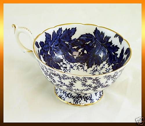 Coalport COBALT BLUE LEAF Bone China Tea Cup *LN*